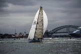 The yacht Victoire, Sydney Opera House and Harbour Bridge
