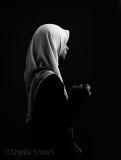 Schoolgirl in hijab in monochrome