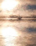 Turneresque treatment of yacht in mist