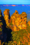 Three sisters in the Blue Mountains.