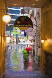 Alleyway in Sydney with red umbrella