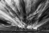 Sydney Opera House with cloud formation in monochrome