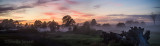 Panorama of sunrise with mist at Berry, NSW