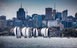 Yacht race on Harbour with North Sydney backdrop