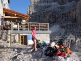 Gearing up at the Pedrotti hut Brenta