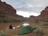 The Loop camp, rainclouds above