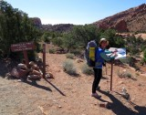 Signing the register before heading into Lower Muley Twist canyon