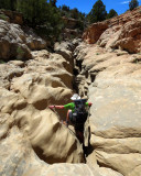 Down,down,down! Descending into 'Round Valley Draw' slot canyon