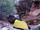 Camp amongst a jumble of boulders