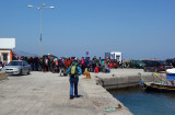 Climbers queue for the ferry from Kos to Kalymnos