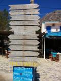 Telendos sign post to climbing areas