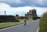 Martina cycling near Whitby abbey