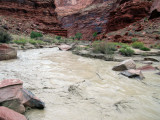 We were lucky to be camped high above the river and to be through the narrowest part of the Paria canyon