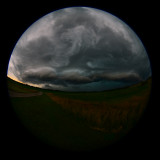 Approaching Thunderstorm Fisheye Perspective