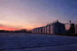 Grain Bins Cold Sunset Reflection