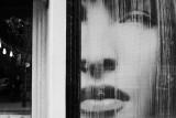 hair salon reflections b/w