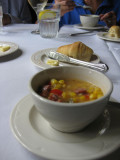 Andouille and corn soup