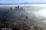 Space Needle, Temperature Inversion, Foggy Seattle, Mount Rainier, Washington