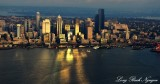 Seattle Skyline, Sunset over Elliott Bay, Ferries,  Washington