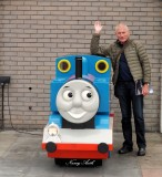 David and train, York, UK