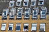 Man in window Edinburgh Scotland UK