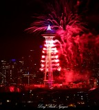 Space Needle on Fire, New Year 2015, Seattle, Washington