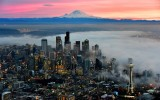 Red Sky over Mount Rainier, Foggy Downtown Seattle, Space Needle, Washington