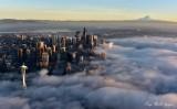 Space Needle, Seattle, Mount Rainier, Golden Hour, Shroud in Fog 2015