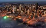Seattle Skyline, Great Wheel, Ferries, Lake Washington, Spokane Viaduct at sunset