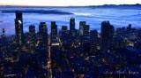 True Blue Seattle Skyline, Sea of Fog, West Seattle, Sunset in Seattle