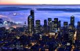 Downtown Seattle Skyline, Columbia Tower, Smith Tower, Centurylink Field, Cranes on Harbor Island