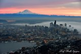 Red Sky over Mount Rainier, Foggy Downtown Seattle, Space Needle, Lake Union Washington