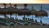 Beach Umbrellas and Chairs, Marbella, Spain