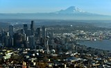 Seattle, Space Needle, Center Center, Great Wheel, Stadiums, Elliott Bay, Mount Rainier