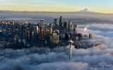 Space Needle, Seattle, Mount Rainier, Golden Hour, Shroud in Fog, Washington 495