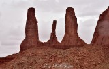 Three Sisters and Mitchell Mesa Monument Valley Navajo Tribal Park Arizona 725