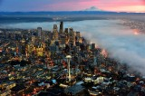 Red Sky over Mount Rainier Foggy Downtown Seattle Space Needle Washington 8a