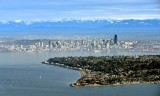 Alki Beach and Lighthouse in West Seattle Seattle Skyline Cascade Mountains Washington 289
