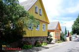 Colorful wooden house on Karaimų street
