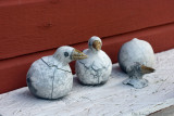 Raku-burned ceramic birds