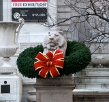 NY Public Library lion with dignified decoration