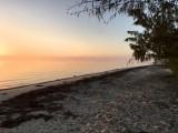 foggy beach at Nathan's Lodge, South Andros