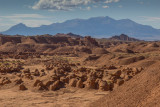 Goblin Valley and distant 11,000' Henry Mountains