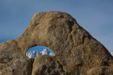 Mt. Whitney through the smallest arch in the Alabama Hills