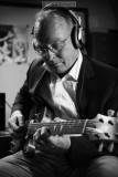 'Bluesdog', a renowned Dutch gitarplayer, during a recording session of his new album