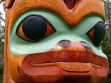 Closeup of Totem in Sitka Totem Park