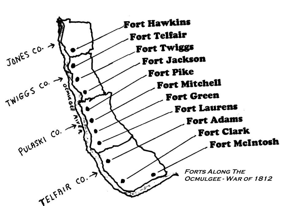 Forts Along The Ocmulgee River - War of 1812