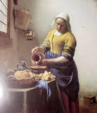 This exhibit of Dutch painters from the Delft School was quite impressive.  Well-known paintings were borrowed from throughout the world. This painting is by Johannes Vermeer The Milkmaid,c.1657-58