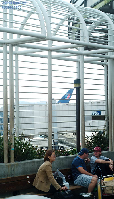 October 2002 - outdoor smoking area for travelers at Los Angeles Intl Airport