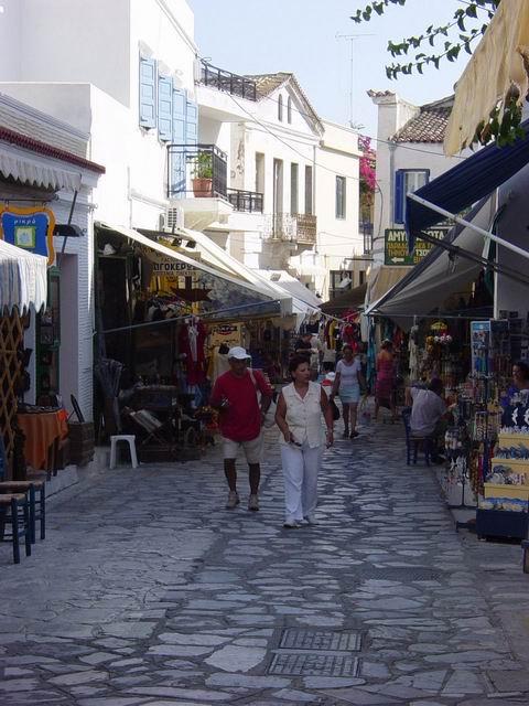 Main pedestrians street in Tinos Town